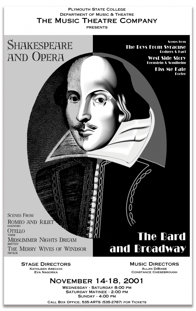 Poster for two Shakespeare Performances at Plymouth State College